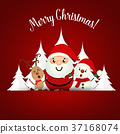 Christmas Greeting Card with Christmas Santa Claus ,Snowman and reindeer. Vector illustration 37168074