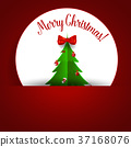 Christmas Greeting Card with Christmas tree and decorations. Vector illustration 37168076
