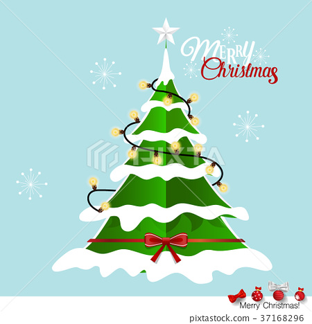 Christmas Tree Illustration.Christmas Greeting Card With Merry Christmas Stock