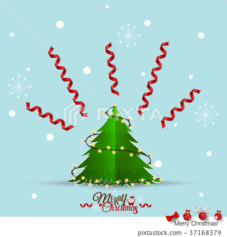Christmas Greeting Card with Merry Christmas lettering and Christmas tree, vector illustration 37168379