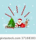 Christmas Greeting Card with Christmas Santa Claus ,reindeer and christmas tree. Vector illustration 37168383