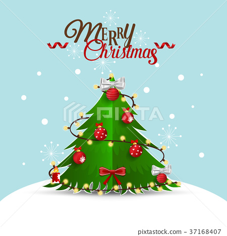 Christmas Greeting Card with Merry Christmas lettering and Christmas tree, vector illustration 37168407