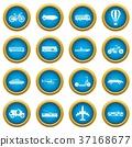 Transportation icons blue circle set 37168677