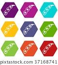 Ripe soybean icon set color hexahedron 37168741
