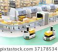 叉車AGV運輸叉車進入工廠。智能工廠的概念 37178534