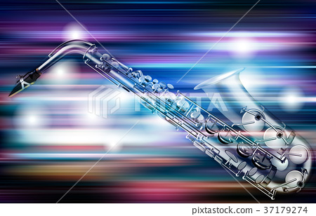 abstract grunge piano background with saxophone 37179274