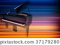 abstract grunge piano background with grand piano 37179280
