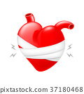 Wounded red heart and bandages. 37180468