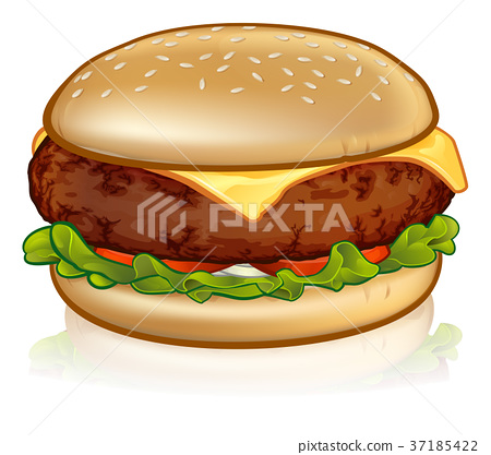 Cartoon Cheese Burger 37185422