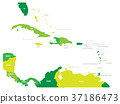 Central America and Caribbean states political map 37186473