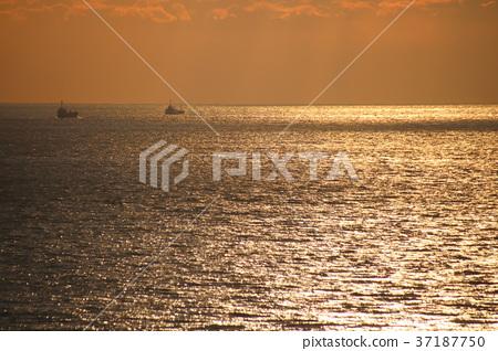 석양을 반사하여 빛나는 하리마 나다의 잔잔한 바다와 석양 하늘. 37187750
