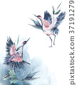 Watercolor nature card with Red Heads Crane 37191279