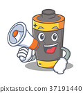 With megaphone battery character cartoon style 37191440