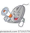With megaphone mouse character cartoon style 37191579