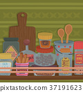 Containers with herbs, spices and kitchenware 37191623