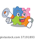 With megaphone puzzle character cartoon style 37191893
