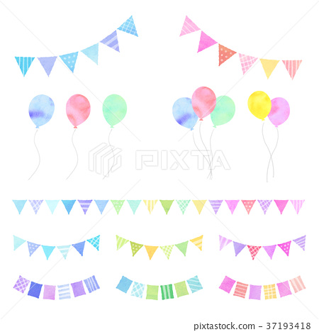 氣球和花環(水彩風格) 37193418