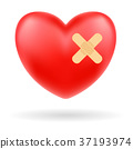 red heart with bandage on white background 37193974