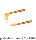 vector flat asian noodle wok udon on sticks set 37194866