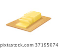 Realistic Detailed 3d Butter on Cutting Board 37195074