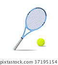 Realistic Detailed 3d Tennis Racket and Ball 37195154