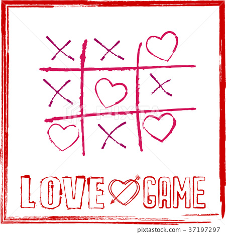 valentine's day card tic tac toe game with hearts 37197297