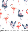 watercolor nature seamless pattern with crane 37198046