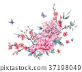 Watercolor blooming branches of cherry, peonies 37198049