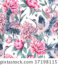 Watercolor seamless pattern with crane, pink 37198115