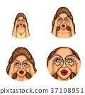Vector pop art avatar, icon - sexy brunette woman 37198951