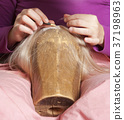 Professional Wig Maker Working in her Workshop. 37198963