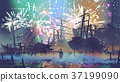 man looking at wreck ships and fireworks 37199090