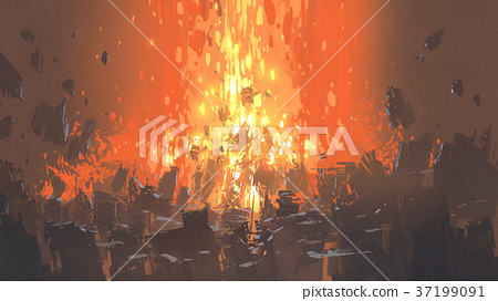 explosion with many fragment of buildings 37199091