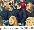 Cheering fans in stadium people applaud your 37200790