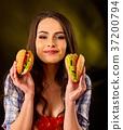 fries, hamburger, woman 37200794