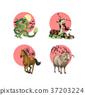 RF illustration - character of chinese zodiac, the Zodiac sign005 37203224