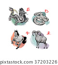 RF illustration - character of chinese zodiac, the Zodiac sign002 37203226