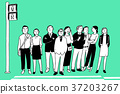 RF illustration - assembled people in front of some place, group. 006 37203267