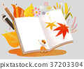 Autumn object illustration - pumpkin, flowes, guitar, book, postcard and etc. 002 37203304