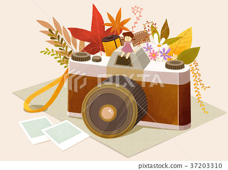 Autumn object illustration - pumpkin, flowes, guitar, book, postcard and etc. 001 37203310