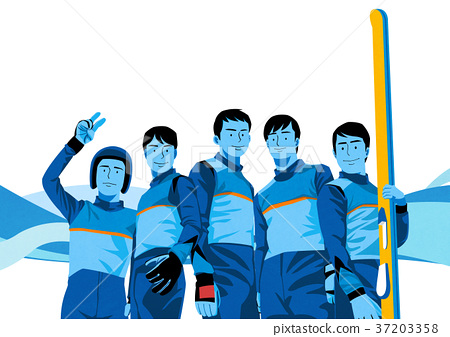 illustration of member of the national team for winter olympics, medalists and athlete 002 37203358