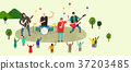 Vector of an outdoor performance, people who enjoy performance 004 37203485