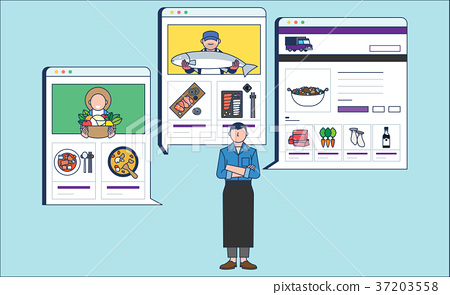 Mobile Shopping, online business conceptual flat style illustration 007 37203558