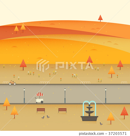 Vector of autumn beautiful landscape 005 37203571