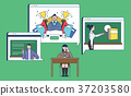 Mobile Shopping, online business conceptual flat style illustration 003 37203580