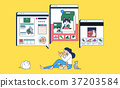 Mobile Shopping, online business conceptual flat style illustration 006 37203584