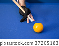 RF photo - object of billiards, cue, billiards balls 110 37205183
