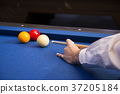 RF photo - object of billiards, cue, billiards balls 108 37205184