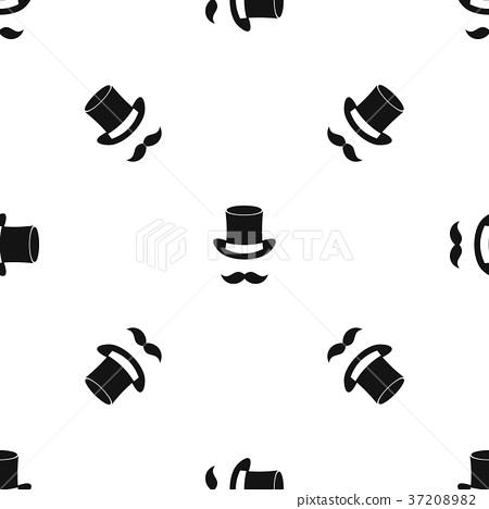 Magic black hat and mustache pattern seamless black 37208982