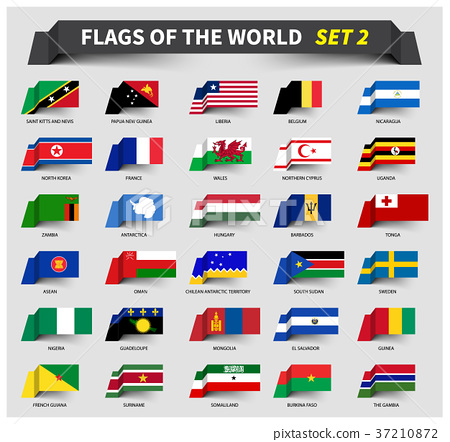 All flags of the world set 2 . Waving ribbon style 37210872
